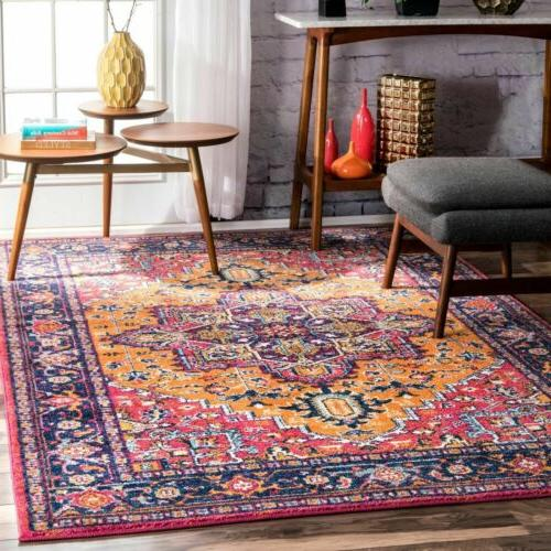 traditional vintage bohemian area rug in pink