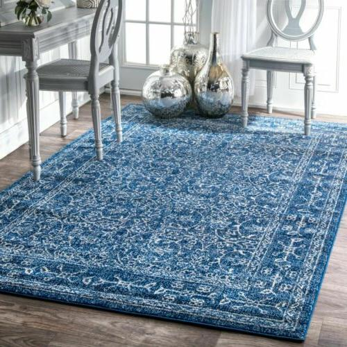 traditional vintage bordered floral area rug in