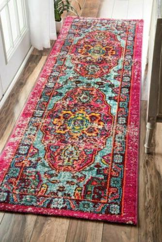 nuLOOM Traditional Area Pink, Yellow,