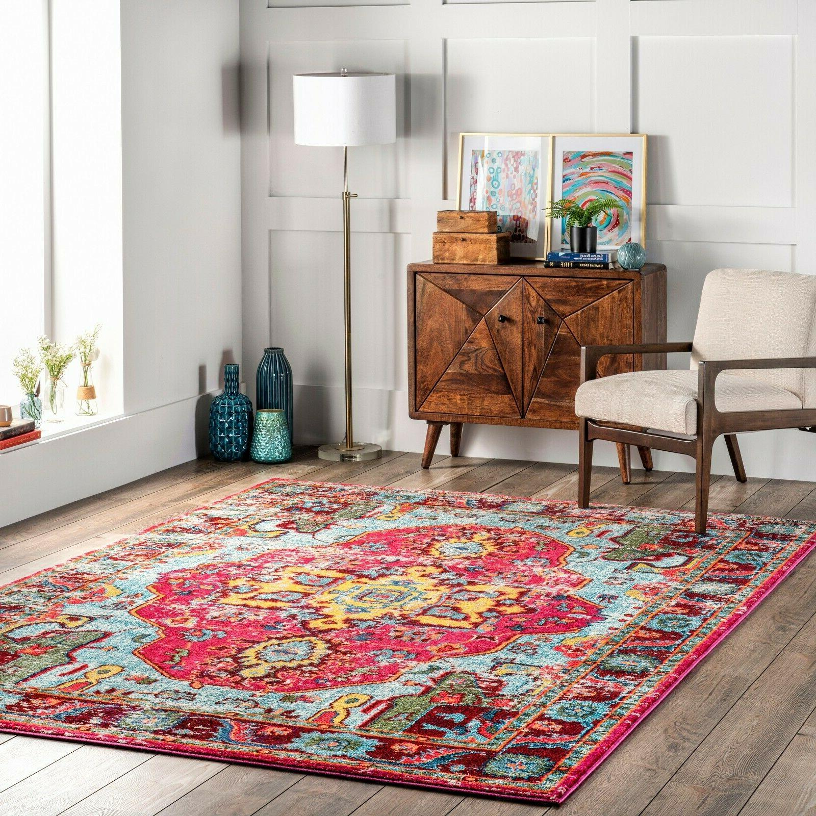 traditional vintage distressed area rug in multi
