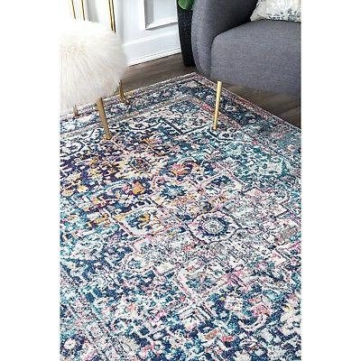 nuLOOM Traditional Star Area Rug in Blue, White,
