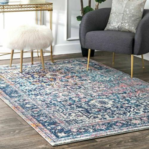 traditional vintage floral star area rug in