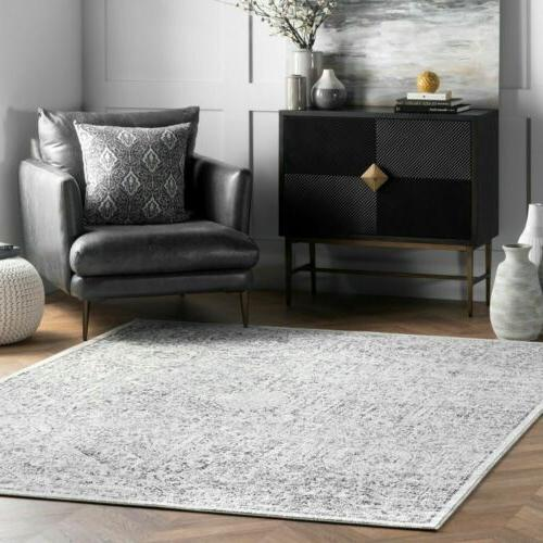 traditional vintage geometric area rug in grey