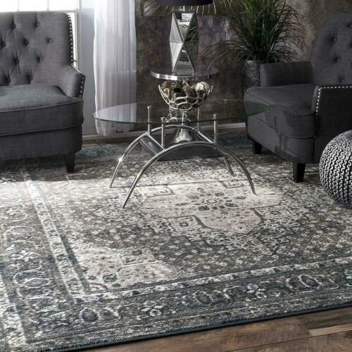 nuLOOM Traditional Vintage Medallion Area Rug in Dark Gray a
