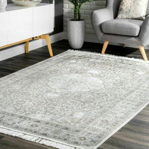 traditional vintage medallion area rug in silver