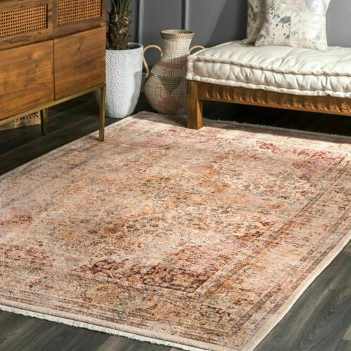 traditional vintage roxie fringe area rug in