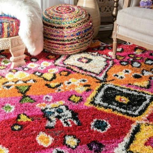nuLOOM Transitional Moroccan Tassel Shaggy in Multi