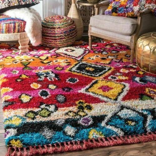 transitional alane moroccan tassel shaggy area rug
