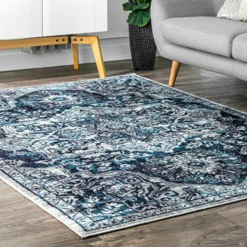 transitional medallion maryanne area rug in blue