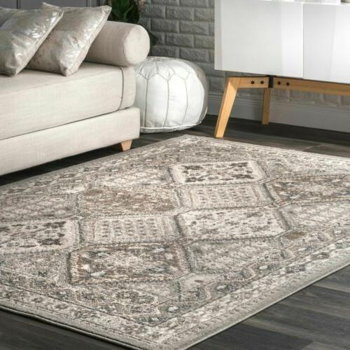 transitional vintage geometric tiles area rug in