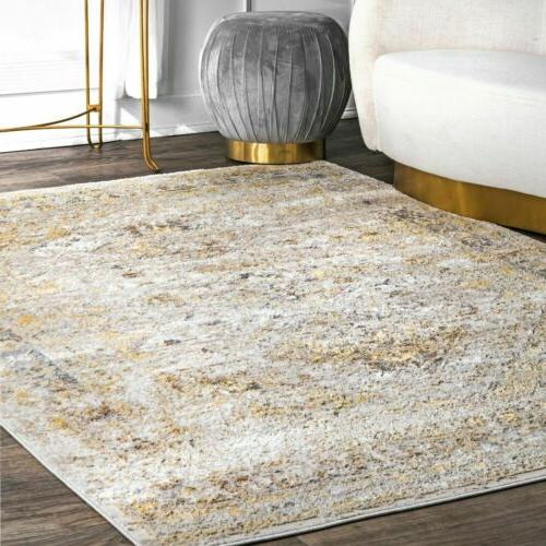 transitional vintage speckled area rug in gold