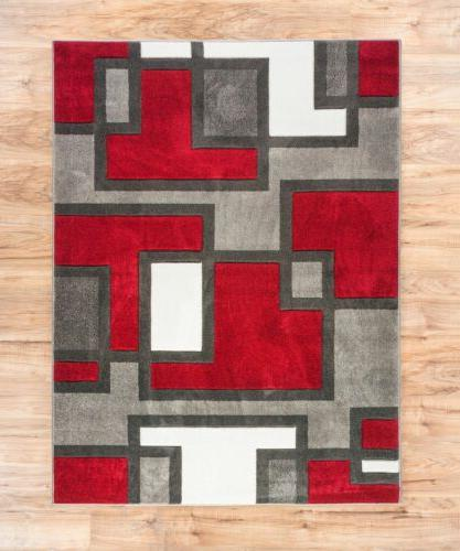 uptown squares red and grey modern geometric