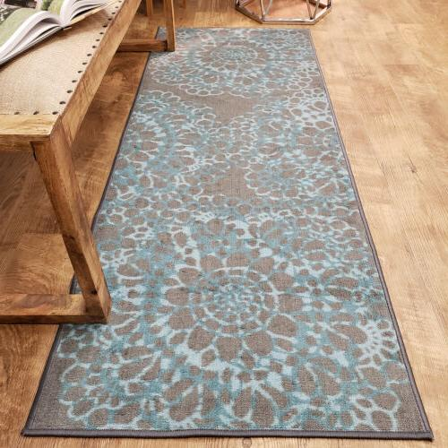 Washable Area Rug Runner Mat Soft Cut Pile Slip by