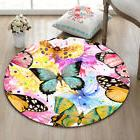 Watercolor Butterfly Fitness Yoga Area Rugs Round Floor Rug