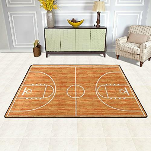 ALAZA Basketball Court Area Rugs for Living Room 6'x4'