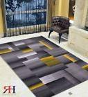 yellow grey silver black abstract area rug