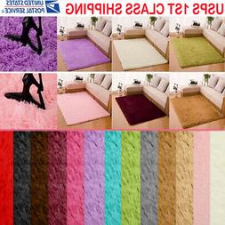 Large Rectangle Fluffy Rugs Anti-Skid Shaggy Area Rug Dining