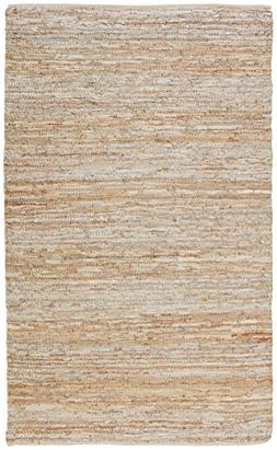 Rivet Leather and Metallic Faded Lines Rug, 5' x 8', Beige &
