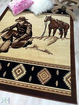 Lodge, Cabin Nature and Animals Area Rug – Southwestern De