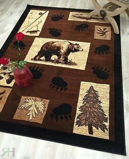 Lodge, Cabin Nature and Animals Area Rug – Geometric Desig