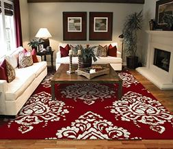 Luxury Large 8'x11' Contemporary Rugs Red & Ivory Cream Mode