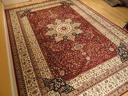 Luxury Red High Dense Silk Rugs Traditional Red Large Area R