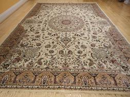Luxury Traditional Silk Rug Large Area Rugs 10x13 Ivory Silk