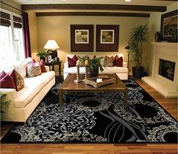 Luxutry Modern Rugs for Living Dining Room Black Cream Beige