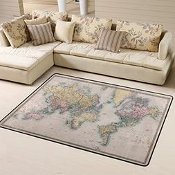 Machine Washable Original Old Colored World Map Area Rugs Pa