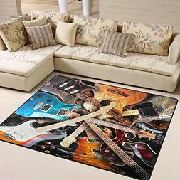 ALAZA Magic Electric Guitar Music Area Rug Rugs for Living R