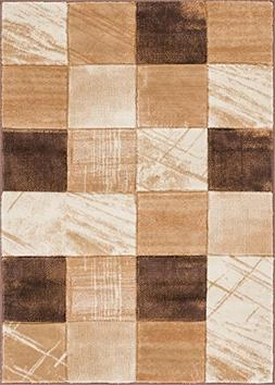 Well Woven Marmo Nuovo Brown & Beige Checkerboard Boxes Hand
