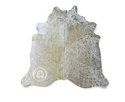 Metallic Devore Gold on Off White Cowhide Rug - Top Quality