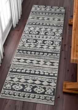 Mezzo Vintage Area Rug Grey Softex High-Low Pile Ethnic Trib