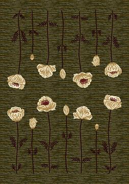Milliken Green Stems Blossoms Bulbs Contemporary Area Rug Floral Poppy Olive