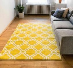 Modern Calipso Yellow Lattice Trellis Area Rug