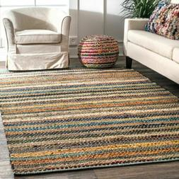 nuLOOM Modern Casual Striped Cotton Area Rug in Blue, Orange