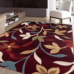 Rugshop Modern Contemporary Leaves Design Area Rug, 2' x 3',