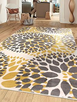 Rugshop Modern Floral Circles Design Area Rug, 5' x 7', Yell