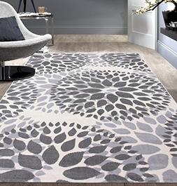 Rugshop Modern Floral Circles Design Area Rug, 5' x 7', Gray