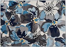 """Modern Large Floral Non-Slip  Area Rug 20"""" X 30"""" Gray-Blue"""
