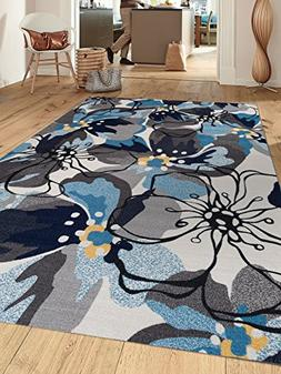Modern Large Floral Non-Slip  Area Rug 8 x 10  Gray-Blue