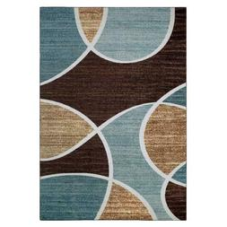 Modern Geo Waves Nylon Textured Print Area Rug Or Runner Ski