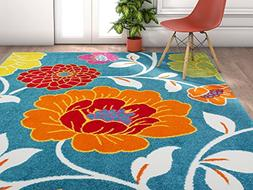 Well Woven Modern Rug Daisy Flowers Blue 5'X7' Floral Accent