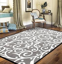 Rugshop Modern Scroll Area Rug, 2' x 3', White/Gray