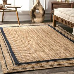nuLOOM Modern Solid Bordered Natural Jute Area Rug in Navy