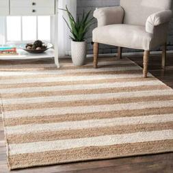 nuLOOM Modern Stripes Jute and Cotton Blend Area Rug in Natu