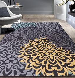 Modern Transitional Floral Non-Slip  Area Rug 5' X 7' Gray