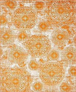 Modern Vintage Inspired Overdyed Area Rugs Orange 8' x 10' F