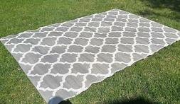 Moroccan OUTDOOR Quatrefoil RECYCLED Geometric SILVER WHITE