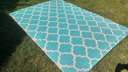 Moroccan OUTDOOR Quatrefoil RECYCLED Geometric TEAL WHITE Ar